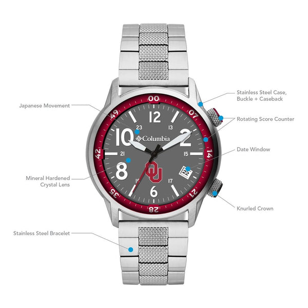 University of Oklahoma Outbacker 3-Hand Date Stainless Steel Watch by Columbia Sportswear