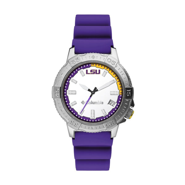 LSU Peak Patrol 45mm Silicone Strap Watch by Columbia Sportswear
