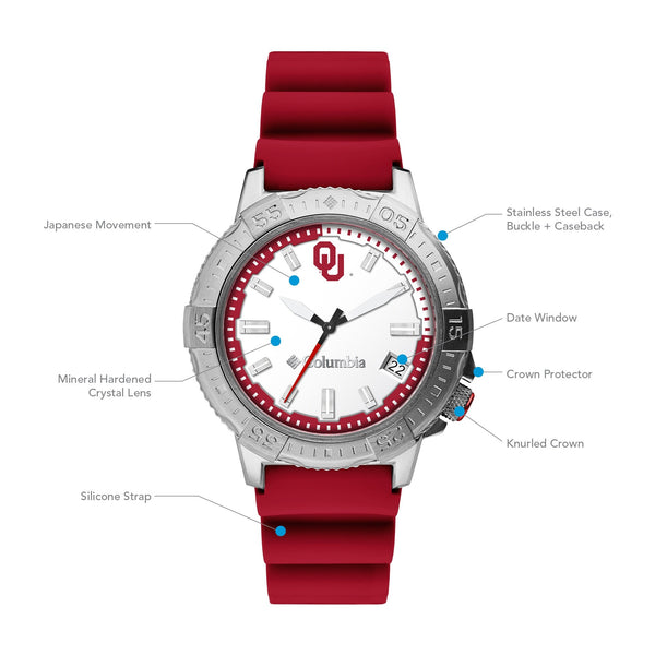 University of Oklahoma Peak Patrol 45mm Silicone Strap Watch by Columbia Sportswear