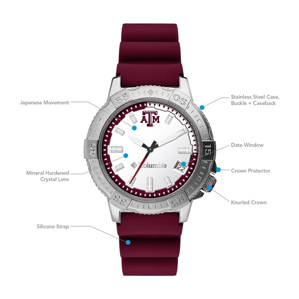 Texas A&M Peak Patrol 45mm Silicone Strap Watch by Columbia Sportswear