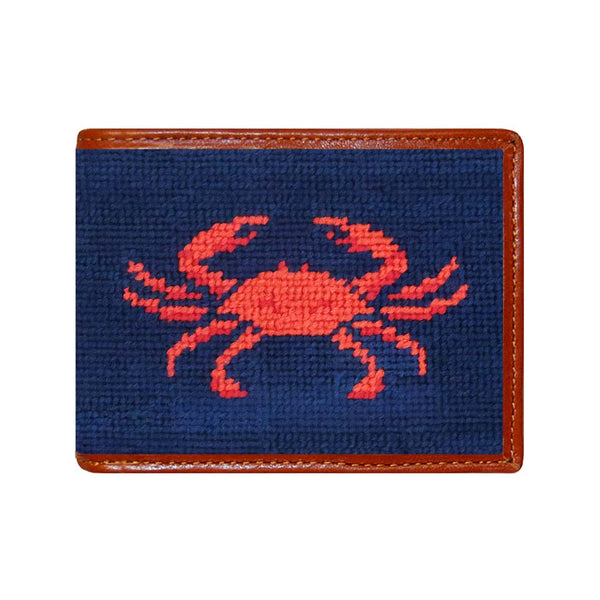 Coral Crab Needlepoint Wallet by Smathers & Branson