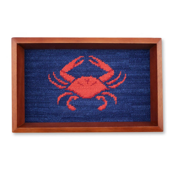 Coral Crab Needlepoint Valet Tray by Smathers & Branson