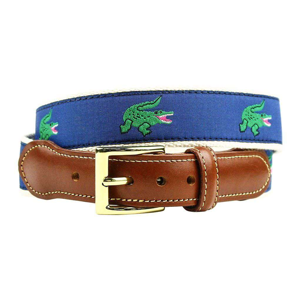 Chubb's Nemesis Alligator Leather Tab Belt in Blue by Country Club Prep