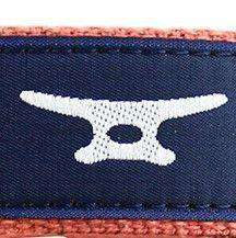 Boat Cleat Leather Tab Belt in Navy on Soft Red Canvas by Country Club Prep  - 2