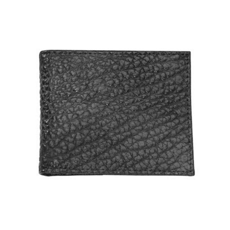 Bozeman Bison Leather Billfold Wallet in Black by Country Club Prep