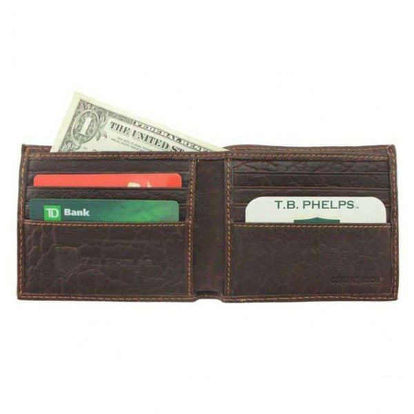 Bozeman Bison Leather Billfold Wallet in Briar Brown by Country Club Prep