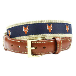 Fox Head Leather Tab Belt in Navy on Khaki Canvas by Country Club Prep