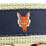 Fox Head Leather Tab Belt in Navy on Khaki Canvas by Country Club Prep  - 2
