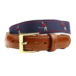Bushwood Golf Swing Leather Tab Belt in Navy by Country Club Prep