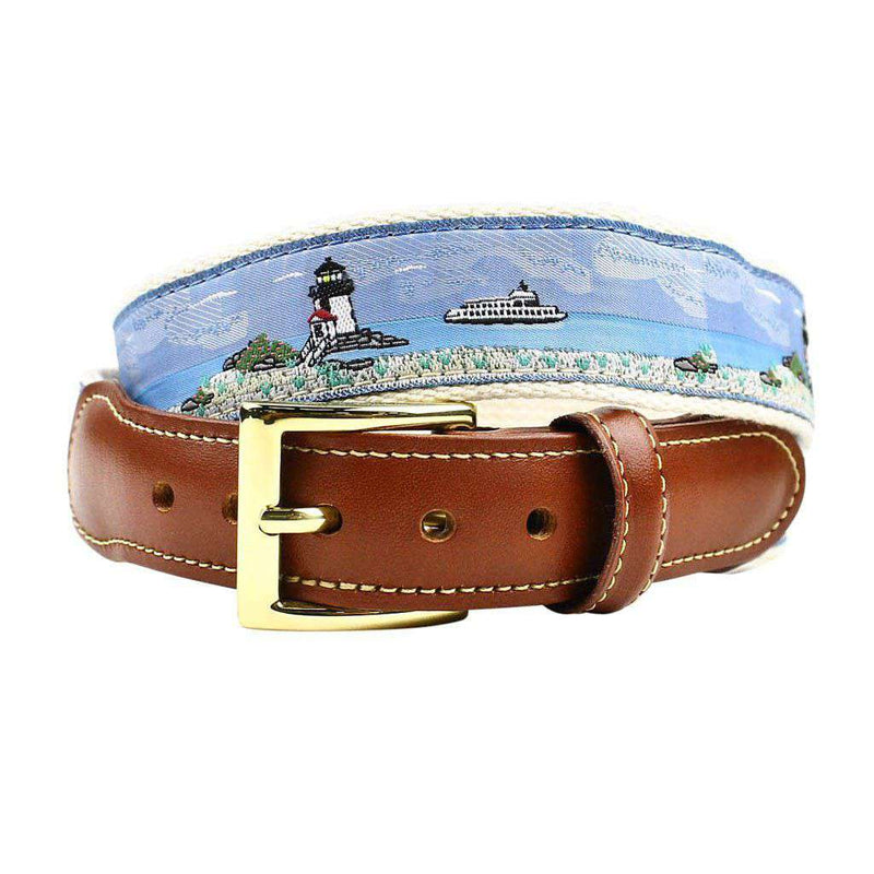 Ferry Boat Leather Tab Belt in Blue on Natural Canvas by Country Club Prep