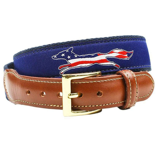Patriotic American Flag Longshanks the Fox Ribbon Belt in Navy by Country Club Prep