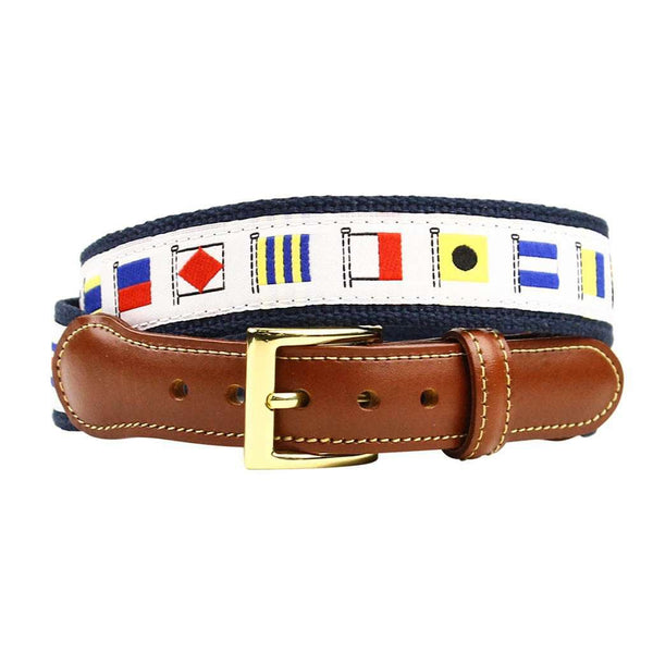 Release the Kraken Nautical Flag Leather Tab Belt in White by Country Club Prep