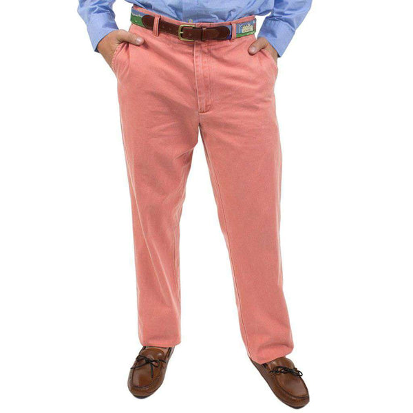 Country Club Prep Plain Front Pants in Faded Red