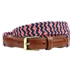 Navy and Soft Red Woven Cotton Leather Tab Belt by Country Club Prep