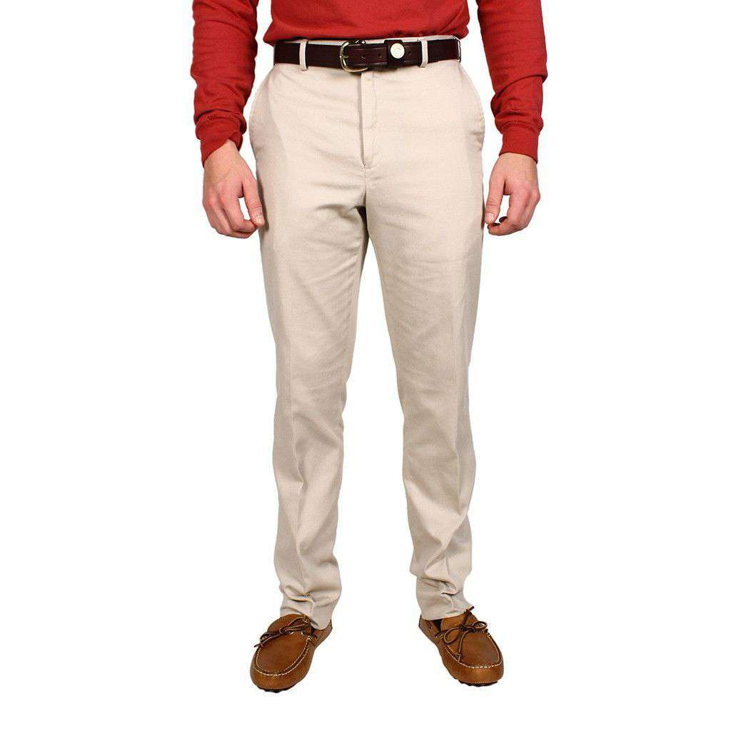 Tailored Fit Flat Twill Pant in Stone by Country Club Prep  - 1