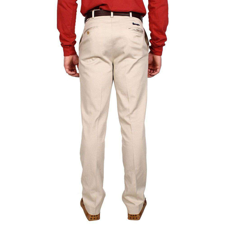 Tailored Fit Flat Twill Pant in Stone by Country Club Prep  - 2