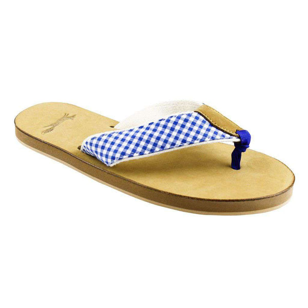 Gingham Strap Leather Sandal in Royal Blue by Country Club Prep  - 2
