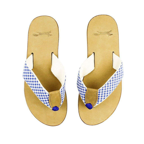 Gingham Strap Leather Sandal in Royal Blue by Country Club Prep  - 1
