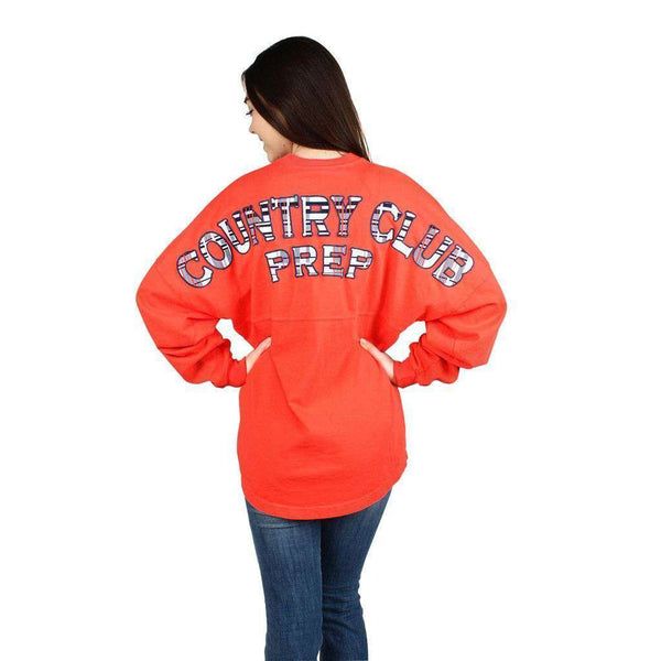 Country Club Prep Jersey in Coral and Madras by Spirit Jersey  - 1