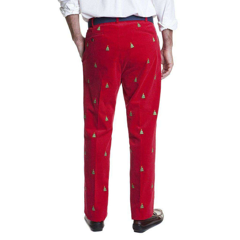 Castaway Clothing Beachcomber Corduroy Pants in Crimson with Embroidered Christmas Tree by Castaway Clothing