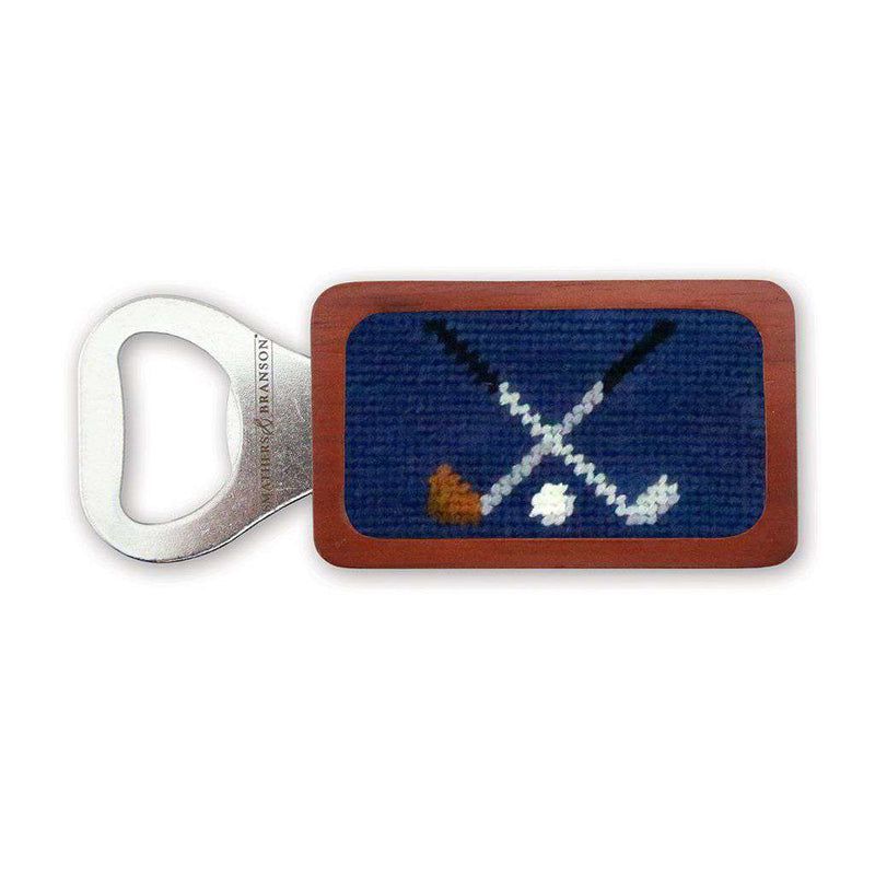 Crossed Clubs Needlepoint Bottle Opener in Classic Navy by Smathers & Branson