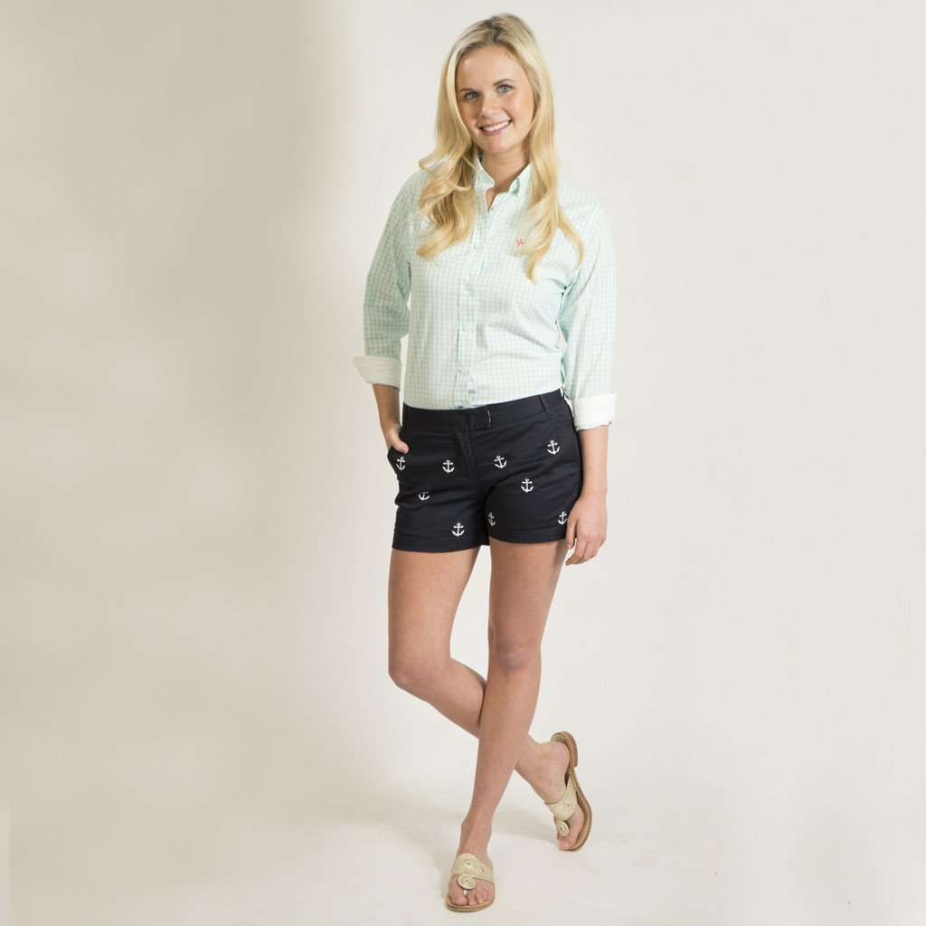 Sailing Short in Nantucket Navy with Embroidered Anchor by Castaway Clothing  - 1