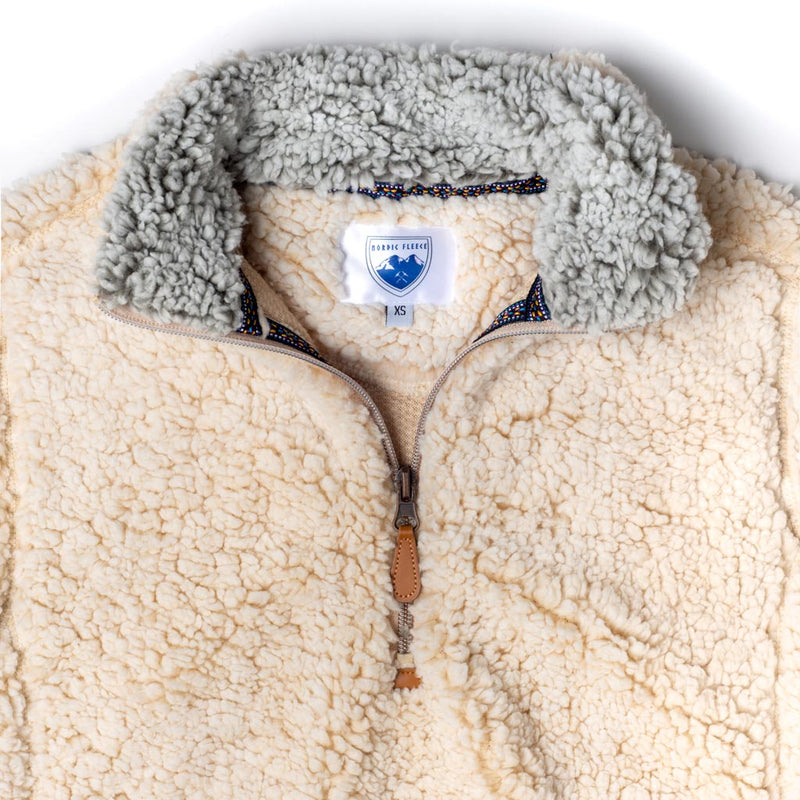 The Victoria Sherpa Pullover in Oatmeal by Nordic Fleece