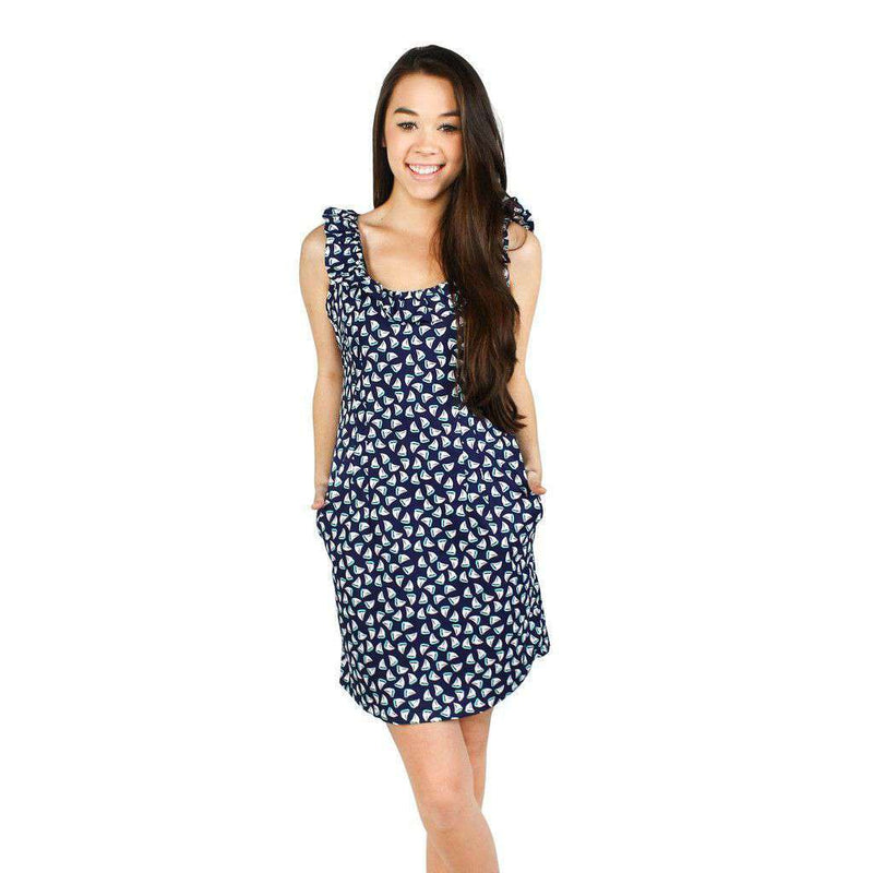 Cathryn Dress in Navy Sailboat Print by Dayton K.  - 3
