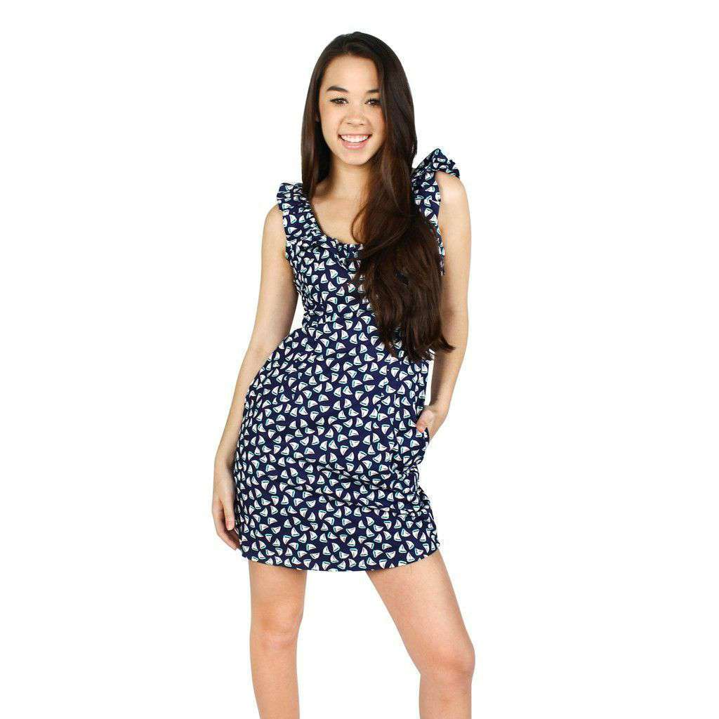 Cathryn Dress in Navy Sailboat Print by Dayton K.  - 1