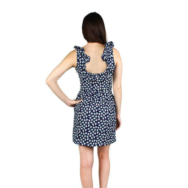 Cathryn Dress in Navy Sailboat Print by Dayton K.  - 2