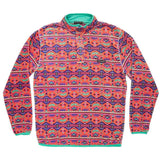 Dorado Fleece Pullover in Coral and Teal by Southern Marsh  - 1
