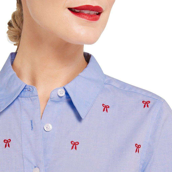Embroidered Bow Button Down in Bermuda Blue by Draper James