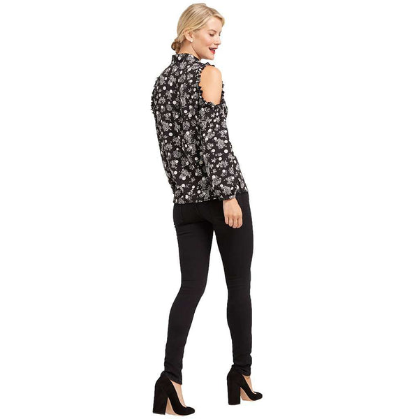 Winter Dot Cold Shoulder Top in Black by Draper James