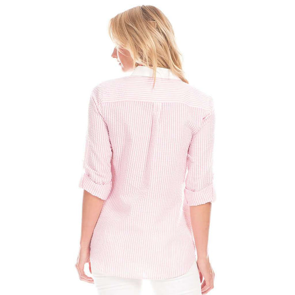 Pointe Tunic in Pink Seersucker with White by Duffield Lane