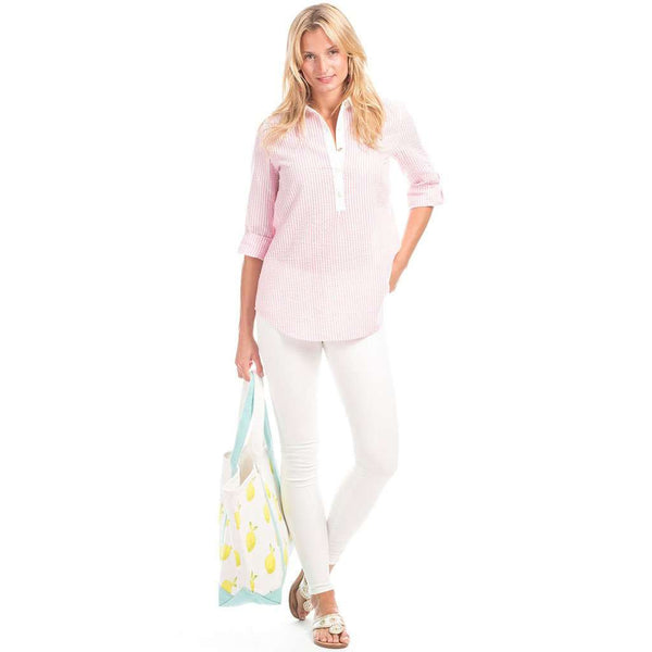 Duffield Lane Pointe Tunic in Pink Seersucker with White