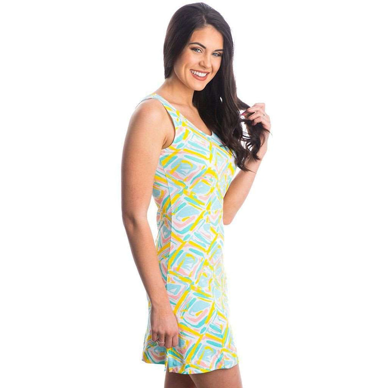 Ellie Printed Dress in White Diamond Print by Lauren James - FINAL SALE