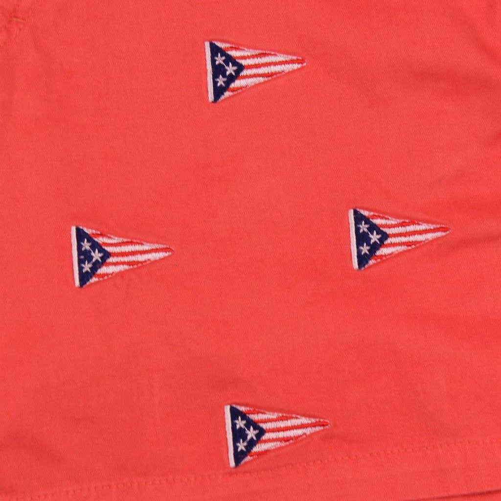 Mariner Short with Embroidered American Burgee in Red Dawn by Castaway Clothing  - 2