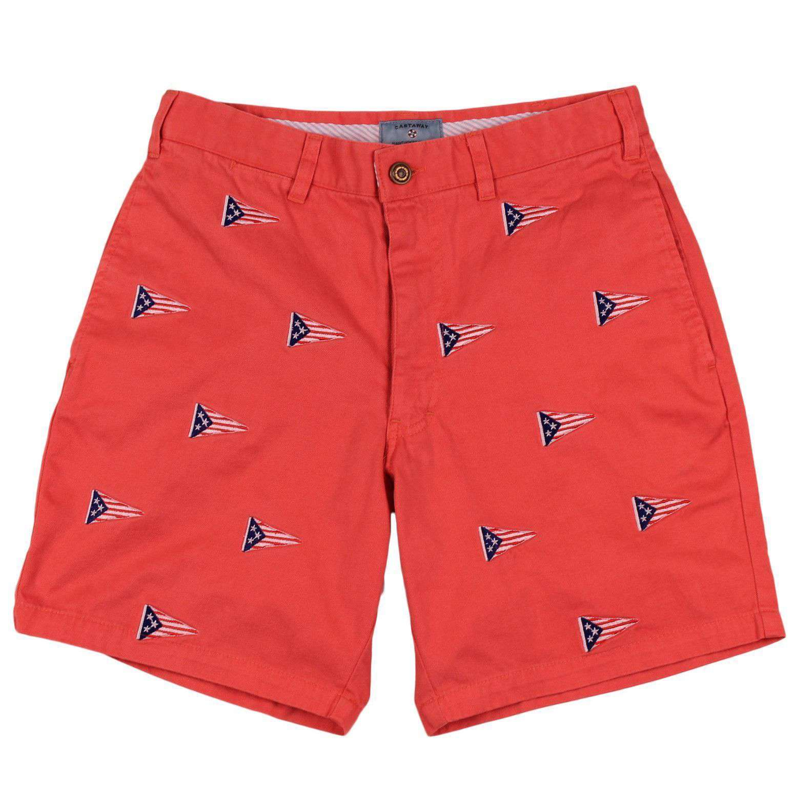 Mariner Short with Embroidered American Burgee in Red Dawn by Castaway Clothing  - 3