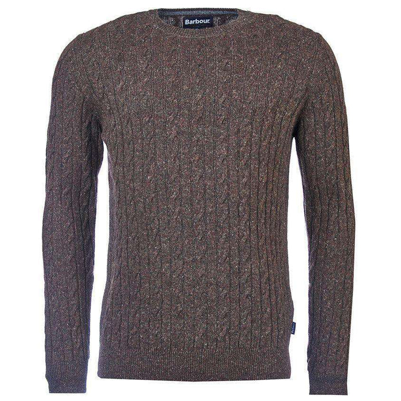 Essential Cable Crew Sweater in Olive by Barbour  - 1