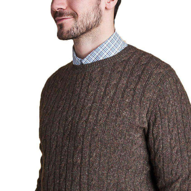 Essential Cable Crew Sweater in Olive by Barbour  - 3