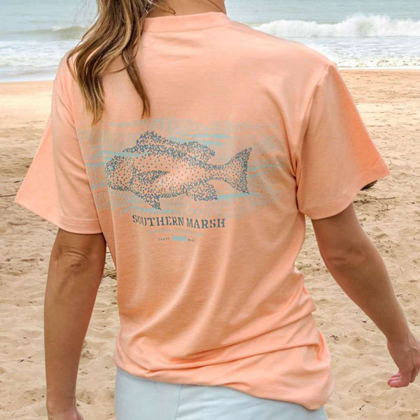 Southern Marsh FieldTec™ Heather Performance Tee - Snapper by Southern Marsh