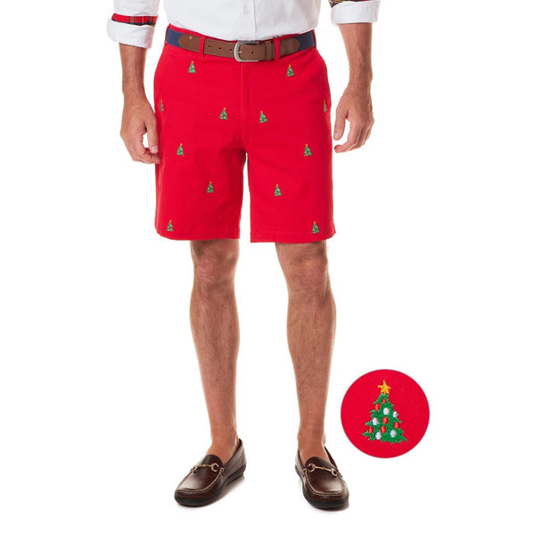 Stretch Twill Cisco Short with Embroidered Christmas Trees by Castaway Clothing