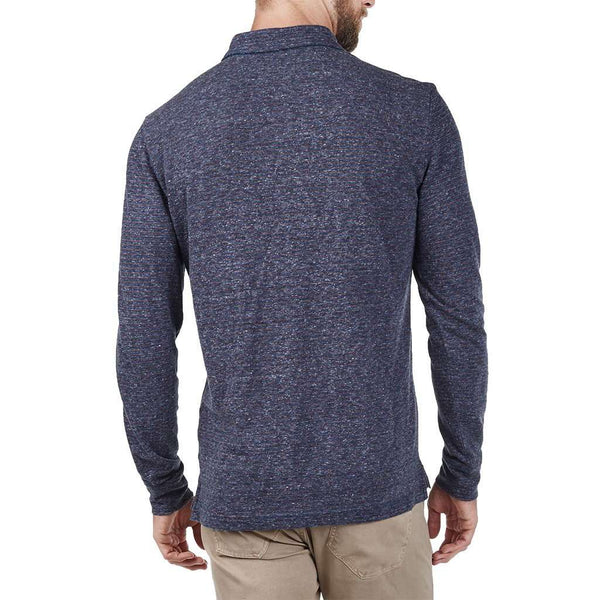 Long Sleeve Heathered Polo in Navy and Rust Stripe by Faherty - FINAL SALE