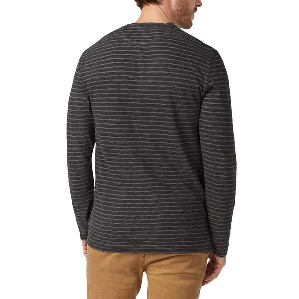 Long Sleeve Indigo Henley in Black Indigo Stripe by Faherty - FINAL SALE