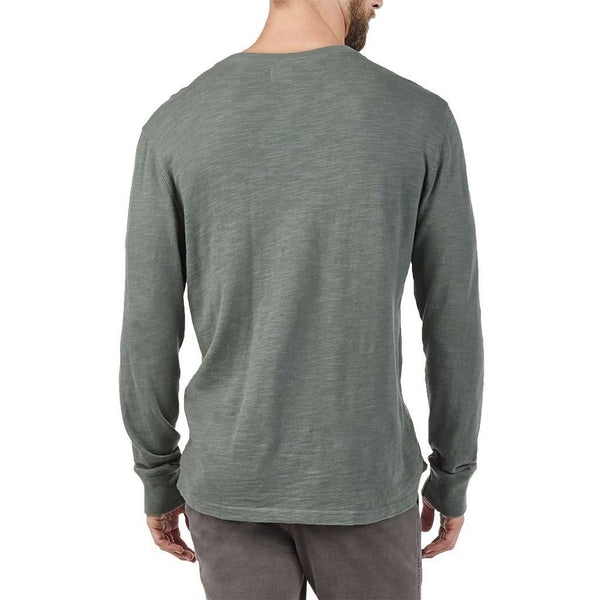 Long Sleeve Slub Cotton Henley in Moss by Faherty - FINAL SALE