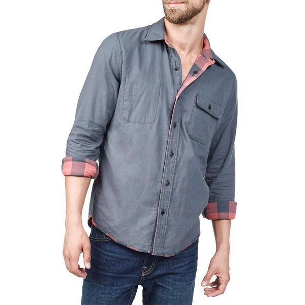 Faherty Reversible Belmar Shirt in Grey and Red Buffalo Check