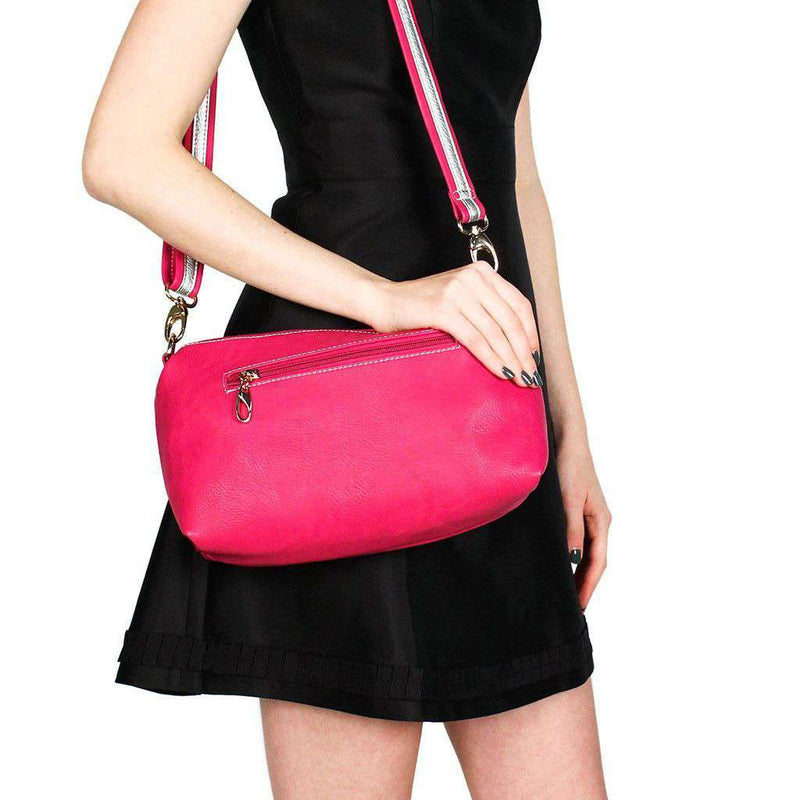 Faux Leather Cross Body Bag in Raspberry by Street Level  - 1