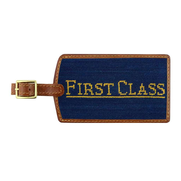 Smathers & Branson First Class Needlepoint Luggage Tag in Classic Navy