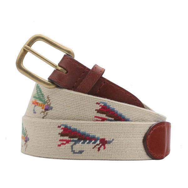 Fishing Flies Needlepoint Belt by Smathers & Branson