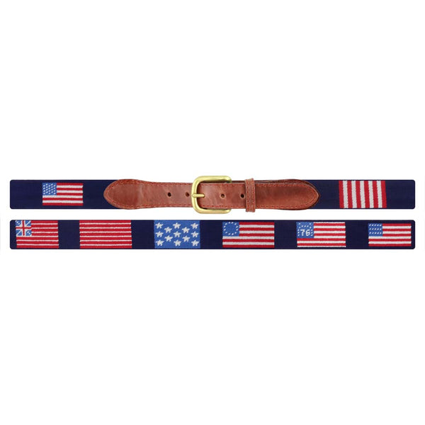 Flags of our Fathers Needlepoint Belt in Dark Navy by Smathers & Branson